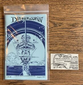 DRAGON CON PROGRAM 1987 FIRST YEAR & Ed Kramer Business Card - ELMORE OWNED