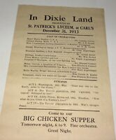 "Rare Antique American Theater Broadside ""In Dixie Land"" Civil War Show C.1913!"