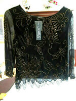 JKARA New York Women's Long Sleeve Dressy Gold Beaded Black Top Size XL NWT
