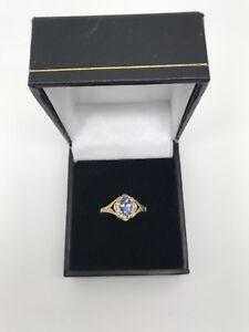 9ct Yellow Gold .02 Carat Diamond and Tanzanite Ring Size P