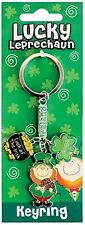 Lucky Irish Charm Leprechaun Fiddle Metal Keyring  (sg 00884)