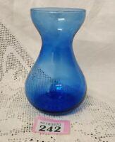 Vintage Blue Glass Vase / Bulb Forcing Vase