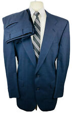 Burberry Mens 42L Navy Blue Check Wool 2 Piece Suit With Dress Pants 36Wx31L