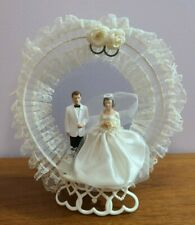Circa 1966 1960s Vintage Wedding Cake Topper Lace Netting Hearts Flowers