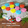 18 Empty Plastic Containers JARS Pill Bottles 2oz Pink Blue Yellow Orange Lids