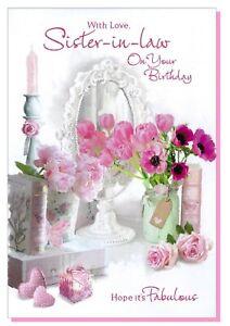 Sister-in-law Birthday Card -  Ladies Female Flowers Mirror  - SIMON ELVIN