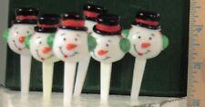 """Euc Vintage 6 Snowmen Plastic Cup Cake Decorations Christmas 2.75"""" x 1.25"""""""