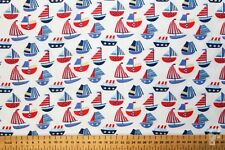 Sailing Boats On White Background - Printed Polycotton Fabric