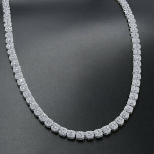 """""""Ice Cube"""" Elegant 14K White Gold Over Real Silver Custom Square Tennis Chain"""