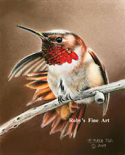 """""""Rufous Male"""" Hummingbird Art 5x7 Giclee Image by Realism Artist Roby Baer PSA"""
