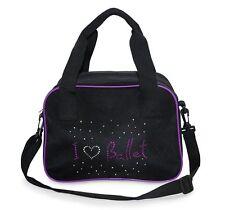 Bolsa Suave de Danza Niñas I Love Ballet Holograma Diseño Negro/Púrpura Roch Valley