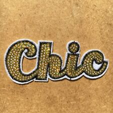 1pc Chich Sequin Gold Sparkle Embroidered Cloth Iron On Patch Applique #1041