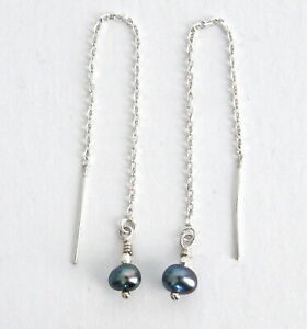 """""""IAJ"""" .925 STERLING SILVER FRESHWATER BLACK PEARL DROPS Ear Threader Earrings"""