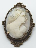 Vintage Cameo Carved Shell Brooch Pin Victorian Lady Gold Tone Metal Ornate