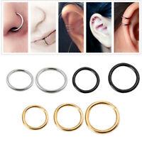 Stainless Steel Hinged Segment Ring Hoop Ring Ear Lip Nose Septum Ring Piercing