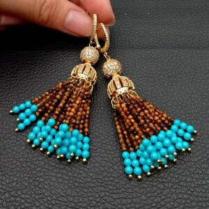 yellow Tiger Eye Blue Turquoise Cz pave Cap Leverback Earrings