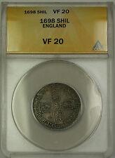 1698 England Silver Shilling Coin William III ANACS VF-20