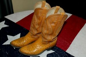 MEN'S DAN POST Cowboy Western Boots 9 D OSTRICH SKIN Exotic LEATHER
