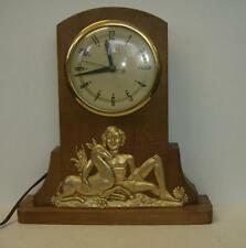 Vintage electric UNITED self starting wood/ metal Art Deco mantel clock boy deer