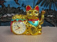 Feng Shui- Lucky Golden cat with clock (Maneki Neko)