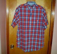 f14dc2c06 Chaps Men's Big & Tall XLT Easy Care Short Sleeve Blue Orange Print Shirt