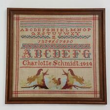1914 Antique Sampler on Linen Signed with Squirrels in Trees Girlhood Embroidery