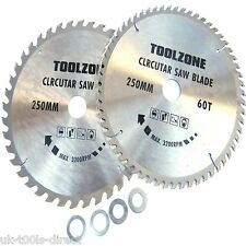 "Circular Saw Blades 250mm 10"" 40T & 60T TCT Saw Disc Blades 30mm bore"