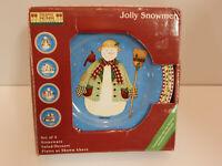 "Debbie Mumm Sakura Jolly Snowmen Salad / Dessert Plates 8"""
