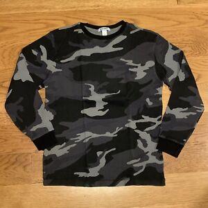 OLD NAVY Black Grey Camouflage Thermal Waffle Long Sleeve Shirt Size Large 10-12