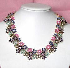 Betsey Johnson crystal Colorful little flowers Surrounded by Necklace#750L