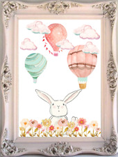 Bunny Rabbit Baby And Kids Room Wall Art Print, Hot Air Balloon Nursery Print