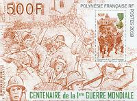 French Polynesia 2018 MNH WWI WW1 World War I 100th Anniv 1v M/S Military Stamps