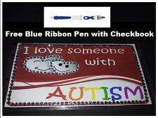 I Love someone with Autism Checkbook Cover with Free Pen
