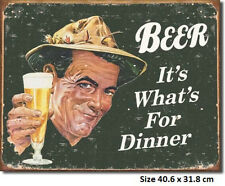Beer It's What's For Dinner Tin Sign 1424 Made in USA