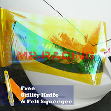 "*12""x84"" Galaxy Neo Golden Yellow Headlight Taillight Fog Light Vinyl Tint Film"