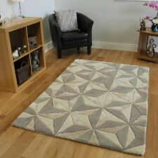 Small-Large Light Beige & Gray Carved Abstract Pattern Modern Rug - 3' x 5'