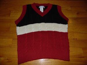 Boy's Florence Eiseman Sweater Vest Sz 5 Red Brown & cream V neck EXC