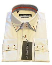 MrDoubleCollar White with Black Check DoubleCollar Long-sleeved Shirt UK Stock