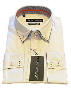 MrDoubleCollar White with Black Check DoubleCollar Long-sleeved Shirt *UK Stock*