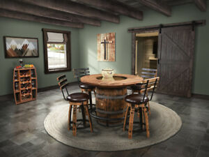 Amish Rustic 5 Pc Whiskey Barrel Pub Dining Set Table Bar Stools Game Room