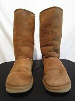 UGG Classic Tall, Brown Suede Sheepskin Leather Fur Boots Women's Size 7