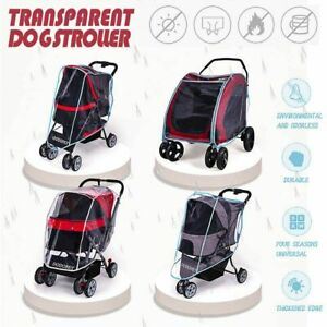 Pet Carrier With Wheels Cart Transparent Wind Rain Proof Cover For Outdoor