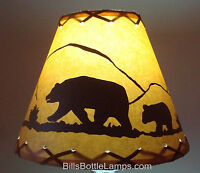 "BEAR Table Light Cabin Cottage LAMP SHADE Clip-On Bulb Style 9"" inch Laced Cone"