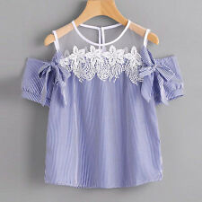 New Womens Loose Off Shoulder Lace Blouse Tops Summer Short Sleeve Striped Shirt