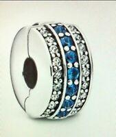 Authentic Pandora 798480C01 Charm Silver 925 ALE Sparkling Blue Line Clip #GZ