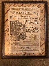 Harry Potter - Fantastic Beasts - Upcycled Flourish & Blots Advert Framed OOAK