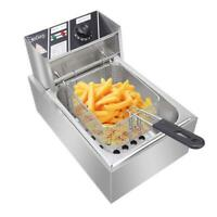 6L Electric Deep Fryer Commercial Dual Tank Stainless Steel Non-Stick Pan 2500W