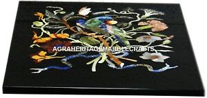 Marble Center Breakfast Table Gemstone Inlaid Marquetry Furniture Decor H2980