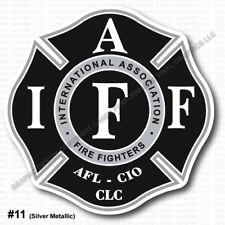 """INSIDE WINDOW MOUNT IAFF Firefighter Decal 3.7"""" Sticker Silver Black 0313"""