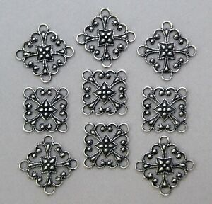 #1832 ANTIQUED SS/P SQ OPEN FILIGREE 4 RING CONNECTOR - 6 Pc Lot